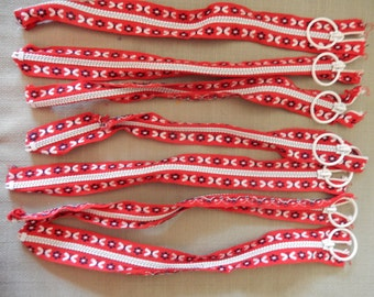 Zippers With Circle Hoop  - 7 Zippers Lot 12 1/2 INCHES
