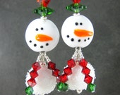 Large Snowman Earrings, Christmas Earrings, Red Green Crystal Earrings, Winter Earrings Holiday Jewelry Lampwork Earrings Christmas Jewelry
