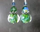 Apple Green Glass & Crystal Dangle Earrings, Boho Chic Earrings, Rustic Organic Earrings, Boro Lampwork Earrings, Woodland Jewelry