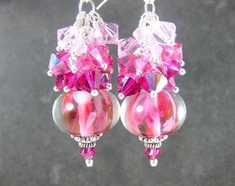 Ombre Pink Crystal Dangle Earrings, Pink Fuchsia White Glass Earrings, Boho Chic Earrings, Lampwork Earrings, Bohemian Jewelry, Hot Pink