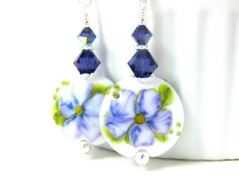 Purple White Flower Dangle Earrings, Lampwork Earrings, Gift for Gardener, Floral Earrings Botanical Earrings, Glass Earrings Nature Jewelry