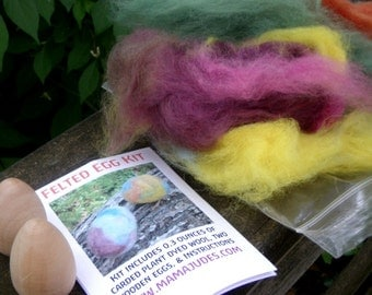 Felted Egg Kit--Plant Dyed Wool, Wooden Eggs, and Instructions