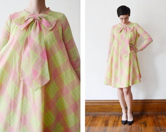 1960s Lime Green and Pink Plaid Tent Dress - S/M