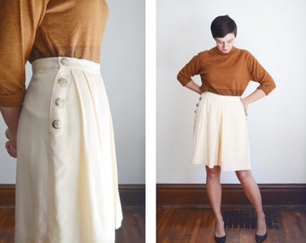 1980s Cream Wool Culottes  - M