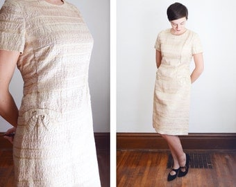 1960s Sophie Curson Gold Metallic Shift Dress - M