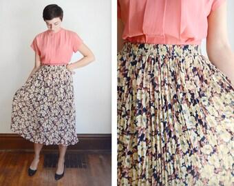 1980s Floral Chiffon Pleated Skirt - M/L