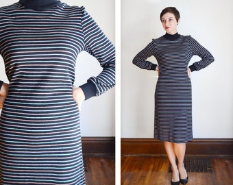 1970s Black and Pastel Striped Sweater Dress - M