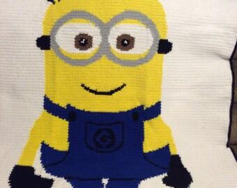 Minion crochet afghan blanket throw ---- So Cute ----