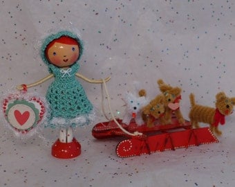 Puppy  Love -  Girl with her Sled of Puppies - Clothespin Doll