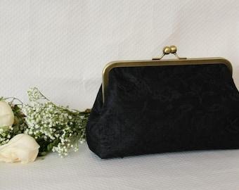 Bridal Clutch - Wedding Clutch -Black Bridal Clutch - Lace Clutch - Bridesmaids Clutch - Isabella