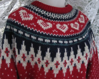 80s HEARTS WOOL NORDIC alpine design Red  winter to spring wool sweater by Woolrich, vintage fair isle style folk art hearts design
