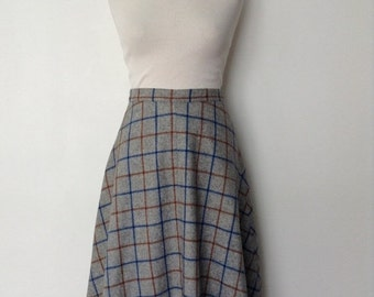 SUMMER SALE 1970s plaid vintage woolen skirt - gey brown and blue - small S