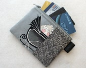 Ghastlies Mean Baby Pram Buggy Halloween Credit Card Case Zippered Coin Purse Wallet Business Card Holder Ghastly Alexander Henry Gray GRS