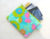 Kaffe Fasset Fabric Zippered Credit Card Case Womens Card Holder Coin Purse Wallet Business Card Case Floral Sprays Turquoise Kiwi Mint Pink