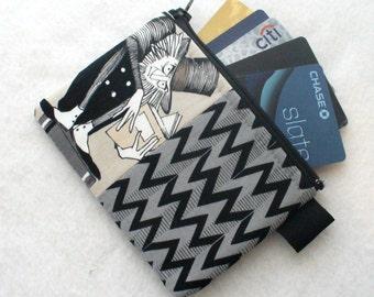 The Ghastlies Fabric Credit Card Case Zippered Coin Purse Wallet Business Card Holder Alexander Henry Ghastlie Gray Black Gunnar Books GET