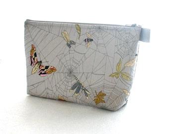 X Large Ghastlie Fabric Cosmetic Bag Zipper Pouch Padded Makeup Bagk Zip Pouch Alexander Henry Ghastlies Ghastlie Spider Web Moths Gray MTO