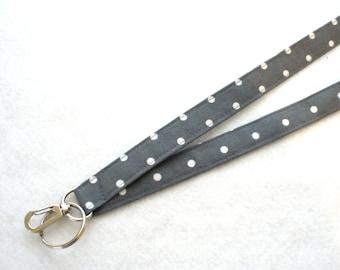Gray with White Polka Dots Fabric Lanyard Breakaway Lanyard Designer ID Badge Holder Clip Key Ring Fob MTO
