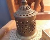 Vintage Ornate Brass Covered Stamp box ~ Potpourri Holder ~ Scent jar ~ Exotic Desk organizer