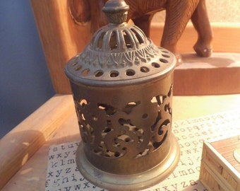 Vintage Ornate Brass Covered Stamp box ~ Potpourri Holder ~ Scent jar ~ Exotic Desk organizer