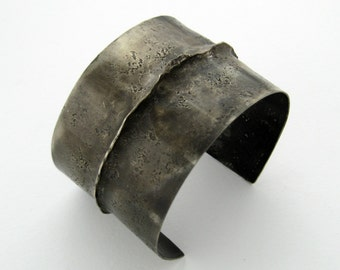 Wabi-Sabi Bracelet, Small, Rustic, Hammered Sterling Silver Cuff, Raw, Organic, One of a Kind, Modern, Minimalist