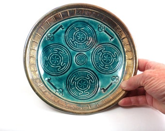 Hecate's Wheel and Key Offering Bowl Handmade Ceramic Pottery