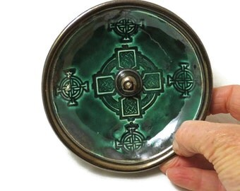 Incense Burner CELTIC CROSS Handmade Ceramic Pottery