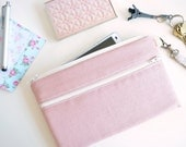 iPhone Bag, iPhone 7 Wristlet, iPhone 6S Padded Case, iPhone 6 Purse, Phone Sleeve with Key Ring and Strap - Rose Linen