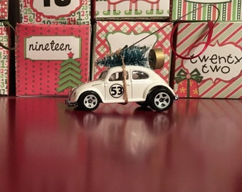 Herbie the Love Bug Carrying Christmas Tree Ornament