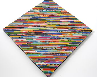 square DIAMOND wall art- made from recycled magazines, colorful, unique, red, orange, yellow, green, blue, bright, bold, home decor, modern