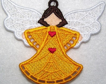 Machine Embroidery Design-FSL-Angel Ornament for 4x4 Hoop.