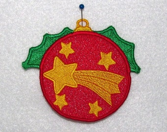 Machine Embroidery Design-FSL-Christmas Ball Ornament for 4x4 Hoop.