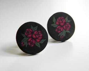 Red Roses Millefiori Post Earrings