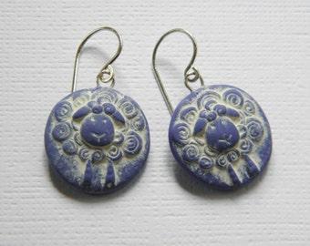 Sheep Polymer Clay Earrings- blue dangle disk earrings- rustic button mold earrings