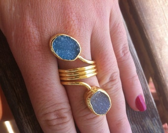 Druzy Ring, White and Blue, Gold Plated, Adjustable, One of a Kind