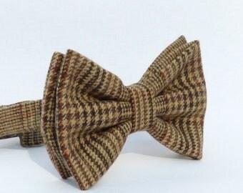 Oversized Bow Tie - Brown/Beige/Orange Plaid