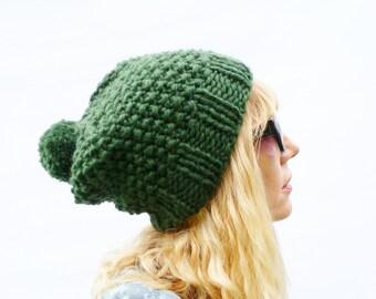 Chunky Knit Wool Bobble Hat - Dark Green