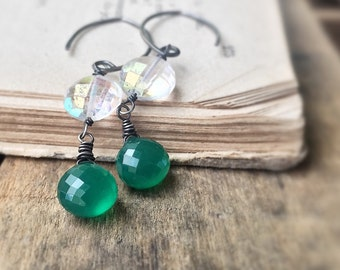 Green Onyx  Earrings - Sterling Silver Earrings - Mystic White Topaz Earrings - Dangle Earrings -  Handmade Earrings - Free Shipping