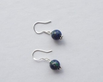 Azurite Chrysocolla and sterling silver earrings