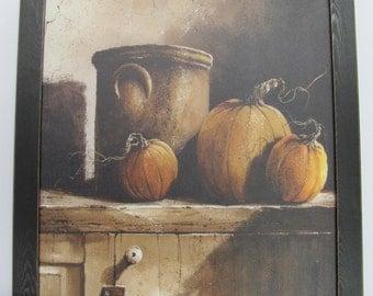 Fall Wall Decor,Crocks,Pumpkins,Handmade distressed Frame,John Rossini