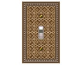 0759b  Brown Pattern Bkgd  Mrs Butler Switchplate (Choose size/price from dropdown)