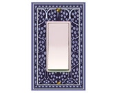 0780b  Fancy Blue Bkgd Switchplate   mrs butler (choose configuration & price in drop down box)