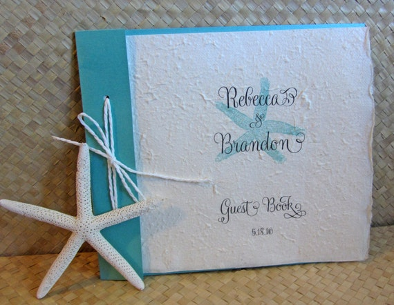 wedding guest book beach themed guest book starfish guest book