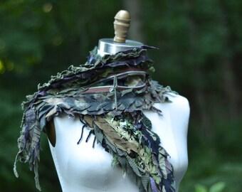 Tattered military style steampunk SCARF Wrap Shawl. Boho OOAK refashioned scarf. Unisex