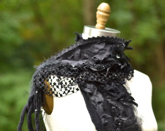 Cashmere long black SCARF SHAWL Wrap/ ruffles, fringes, lace appliqués. Boho OOAK accessory, Dolly Kei Goth Lolita, steampunk tattered wrap