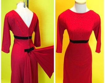 Vintage 1950s Lipstick Red Holiday Party Dress Back Drape M/L