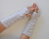 Arm Warmers Long Gloves Fingerless Gloves  Ivory Hand Knit Winter Accessories Winter Fashion