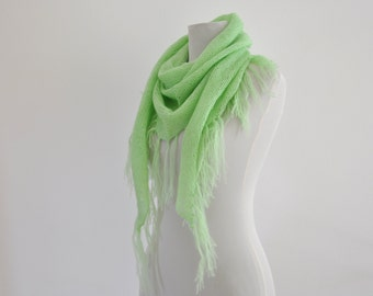 Soft Warm Fringe Scarf Cowl Triangle Shawl Pale Green Gift for Her Christmas Gift Idea