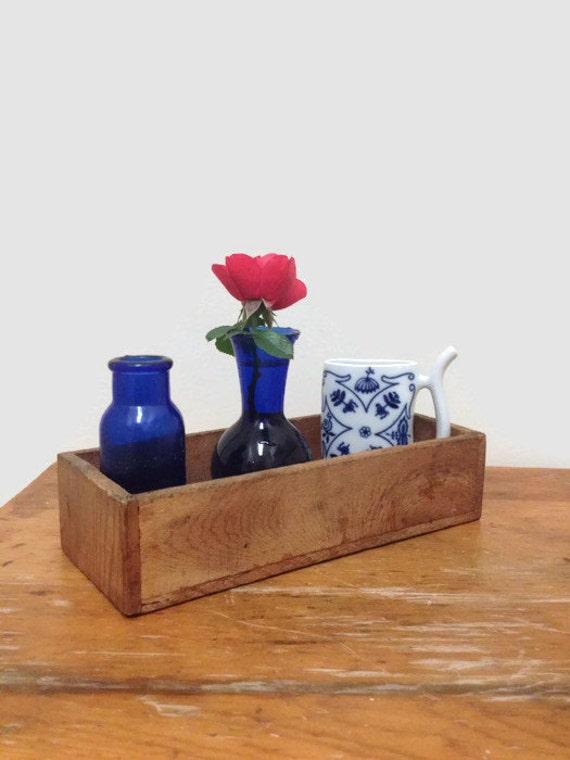 Vintage Primitive Wooden Box, Drawer - Rustic Storage Decor
