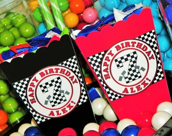Kids Race Car Themed Party Mini Popcorn Boxes. Race Car Snack Boxes. Race Car Birthday Party Boxes. Table Decorations. Goody Box Set of 10