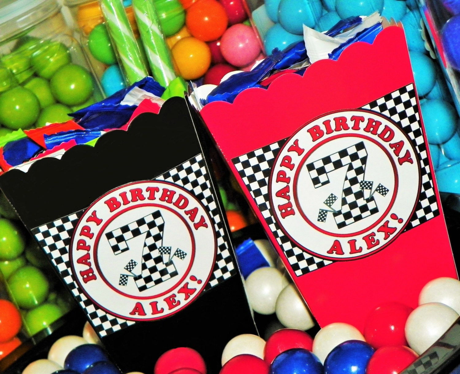 Race Car Birthday Party: Kids Race Car Themed Party Mini Popcorn Boxes. Race Car Snack